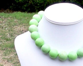 Lime Green Turquoise Necklace Apple Green Gemstone Necklace - Light Green Beaded Necklace - LARGE 20mm Round Beads - Melanna