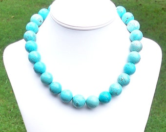 Berrah - Chunky 18mm Round Blue Turquoise Howlite Gemstone Beaded Necklace