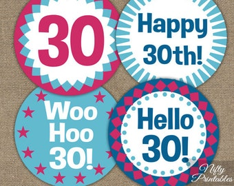 30th Birthday Cupcake Toppers - 30th Hot Pink Toppers - Printable 30th Birthday Party Decorations - Hot Pink 30th Birthday Topper Favor Tags