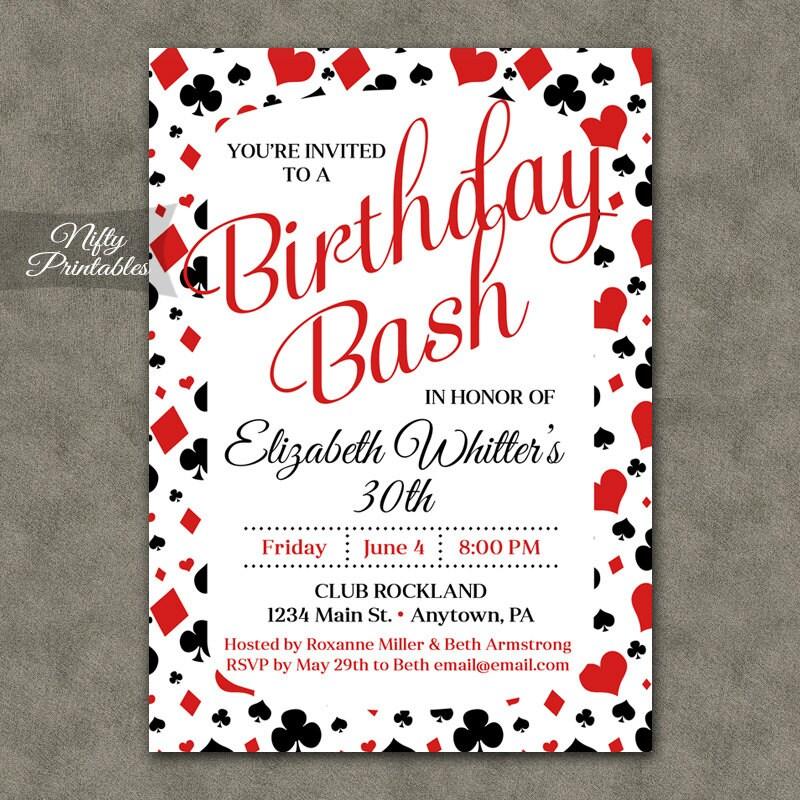 Casino Birthday Invitation Printable Gambling 21st 30th