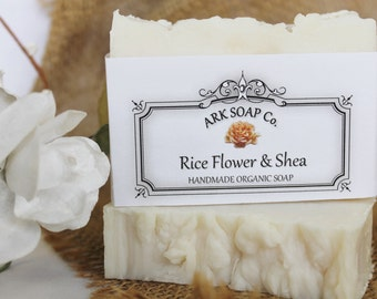 Rice Flower & Shea Soap - Hot Process Organic Ingredients - Handmade - Made in Canada - Bath and Beauty - ARKGifts