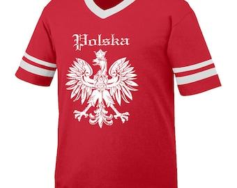 RETRO STYLE POLSKA polish t-shirt Jersey style 100% made in the usa vintage retro hip hop