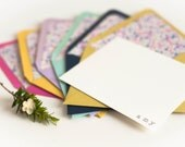 Personalized Stationery Set 6 Envelopes with Floral Liner and 6 White Flat Cards with Silver Embossing