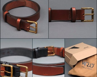 Handcrafted Leather Belt with Brass Buckle
