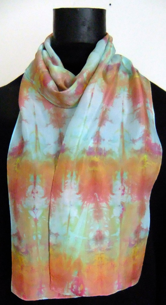 habotai silk scarf with orange and by watercolorsilks