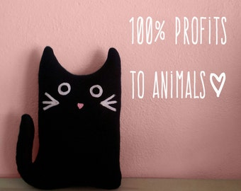 Plush Cat Abigail KITTY GRAM Kitten Fundraiser 100% Profits to Animals Plushie Kitten, Cat Stuffed Animal, Plush Black Cat