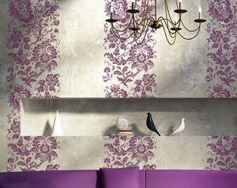 Damask Stencil Flower Arielle Reusable stencils for decor just like wallpaper
