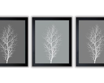 INSTANT DOWNLOAD Tree Wall Decor Tree Print Grey Gray WhiteTrees Set of 3 Abstract Art Modern Minimalist Print Tree Bathroom Printable