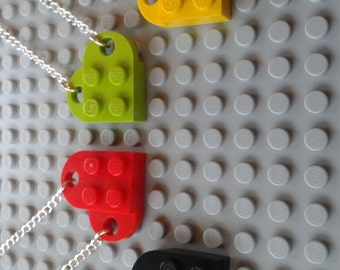 Lego Heart Necklace made with new Lego parts ~ Various colours ~