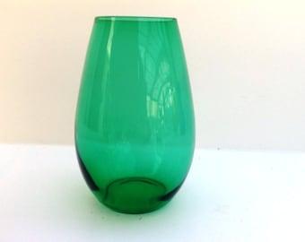 Vintage 1960s Dutch green glass vase