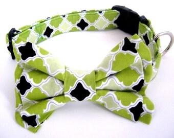 Dog Bow Tie  Collar Small Medium Large Adjustable Green Bowtie Collar