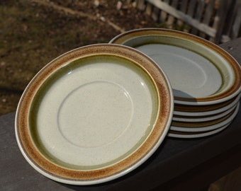 Vintage Stoneware, Saucers, Set of Six, Wild Strawberry, P6002, Vintage Dishes, 1970's Stoneware, Saucers, Premiere Potterskraft,