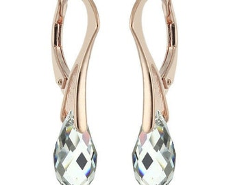 14k Rose Gold Over 925 Sterling Silver Briolette Swarovski Leverback Earrings