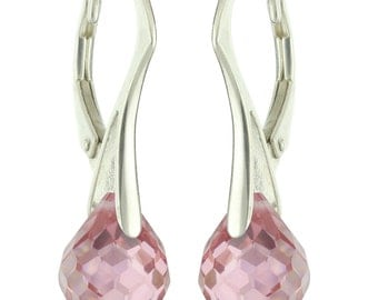 925 Sterling Silver Natural Briolette Onion Pink Sapphire Leverback Earrings
