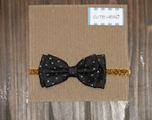 Baby/Girls Handmade Bow Headband Black with Gold Glitter Polka Dots Gold Band Christmas