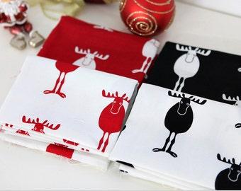 Fat Quarter, Set of 4, 1/4 Yard Each, Reindeer Oxford Cotton Fabric