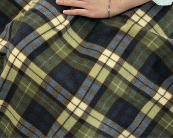 Fleece Fabric Plaid Khaki By The Yard