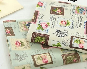 Cotton Fabric Vintage Rose Stamp in 2 Colors By The Yard