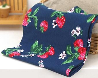 Cotton Jersey Knit Fabric Strawberry Navy