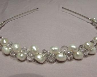 Freshwater Pearl Bridal Headband, Pearl Headband, Bridal Hair Accessory, Wedding Tiara, Pearl Tiara, Crystal & Pearl Headband