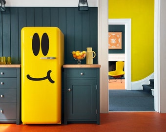 Fridge Sticker |Smiley Face , Freezer, Refrigerator, Vinyl Decal Sticker , Happy , Lovely, Kitchen Decoration, Sticker for fridge