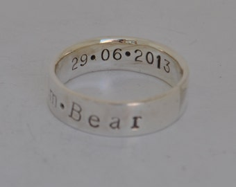 Personalised Sterling Silver Father's ring - Family ring, anniversary, handmade UK