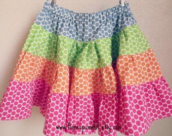 Rainbow Polka Dot Girls Skirt, Twirly Skirt, Rainbow Skirt, Rainbow Ruffle Skirt, 4-Tiered Skirt, Size 6, 7, 8, 9, 10, 11, 12, 13/14, 15/16