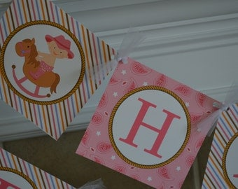 Cowgirl Theme - Happy Birthday Banner - Pink Cowgirl - Western Party -  Party Packs Available