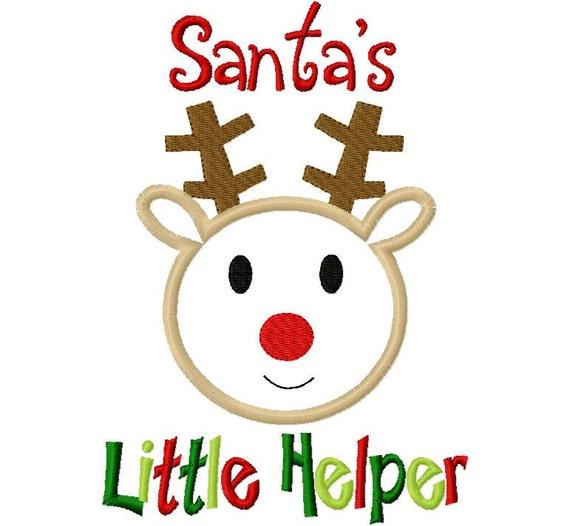 Christmas Reindeer Boy Santa's Little Helper  Applique Machine Embroidery Design 4x4 and 5x7