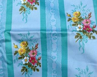 Stunning Vintage French cotton Chintz Decorator Fabric Floral and Lovely 21/2 yards plus scraps