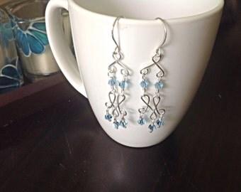 handmade sterling silver and swarovski aquamarine chandelier earrings