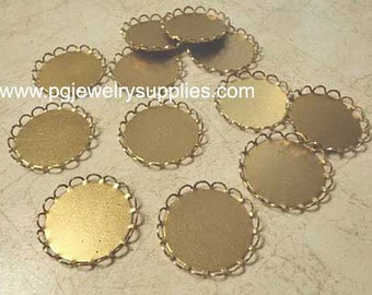 21mm round brass lace edge cameo cab settings 12 pieces lot l