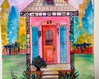 New Orleans Shotgun House  Pink 3