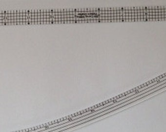 "Curved standard ruler for 5/8"" pattern drafting, tracing and adding seam allowances"