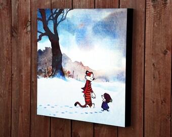 Calvin and Hobbes Snow Walking Print Mounted
