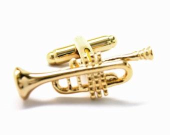 Gold Tone Trumpet Cufflinks Cuff Links