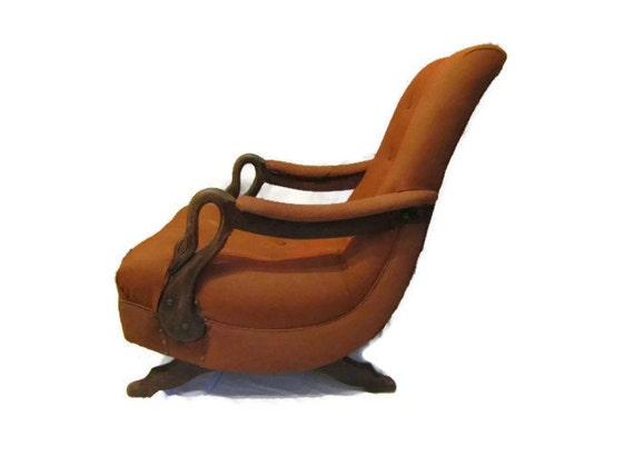 Vintage Chicago Gooseneck Upholstered Rocking Chair Mid