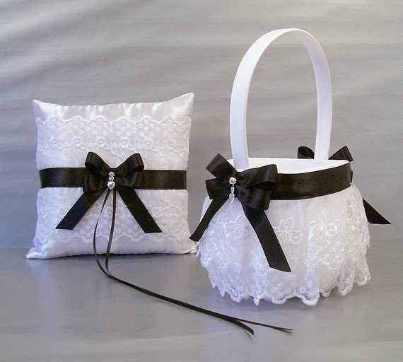 Flower Girl Baskets And Ring Pillows : Black wedding bridal flower girl basket and ring bearer pillow