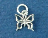 BUTTERFLY Charm, MINIATURE Small .925 Sterling Silver