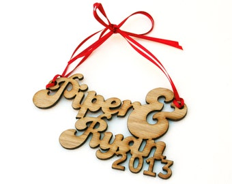 Couple's Names Ornament: customized and laser cut on wood.