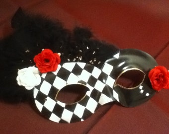 Check Mate - Handpainted and Feathered Masquerade Mask