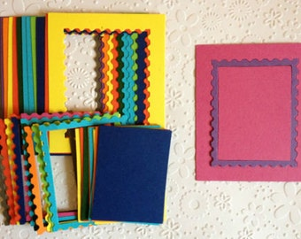 15 bright Stamp Frame die cuts with Inserts for cards/toppers *45 pieces in total* cardmaking scrapbooking