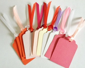 12 Blank Valentine love Gift tags with ribbon ready for decoration - make your own gift tags