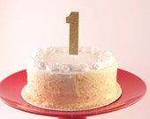 First Birthday Cake Topper - Customize to any number  (Gold Glitter Birthday Decorations)