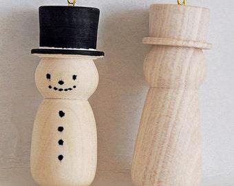 Snowmen,Wood turned snowman,handmade.