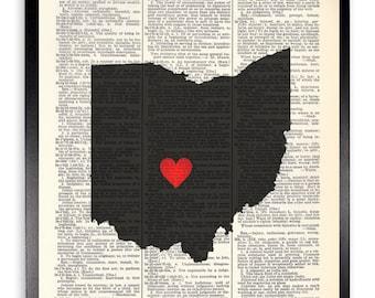 Ohio Upcycled Dictionary Art Print Repurposed Book Print Recycled Antique Dictionary Page - Buy 2 Get 1 FREE