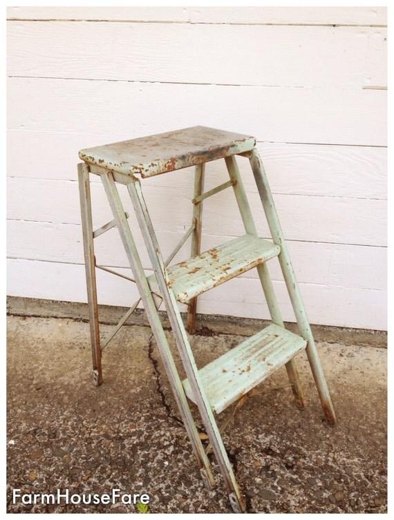 Vintage Metal Step Stool Old Folding Ladder 1950 By