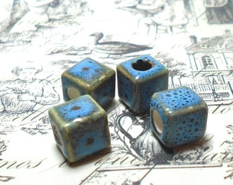 4 Vintage Blue Ceramic Beads, 10mm Square Cube, Blue Beads, Handmade Focal Bead, Unique Beads, Jewelry Beads, Decorative Bead D-K19