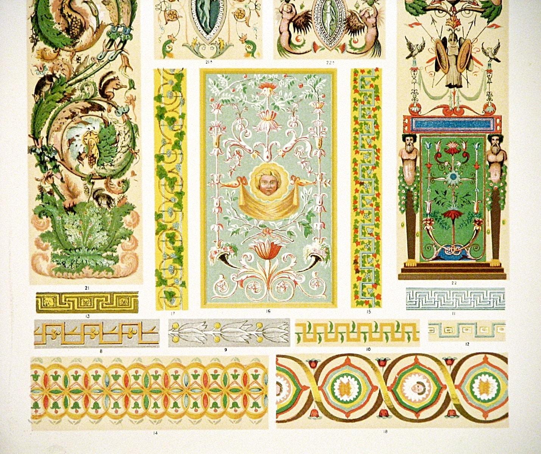 Italian ornaments - 1910 Art Nouveau Ornament Print Full Color Original Lithograph Beautiful Nouveau Italian Ornament Design Wall Art