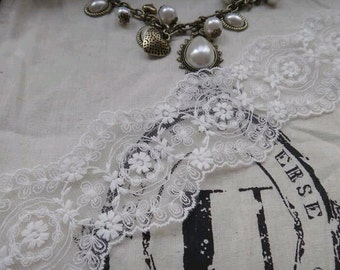 """Lace Trim Lace Fabric white flower Embroidery Wedding Fabric 2.36"""" width 1 yard/3yards"""